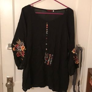Johnny Was embroidered black top